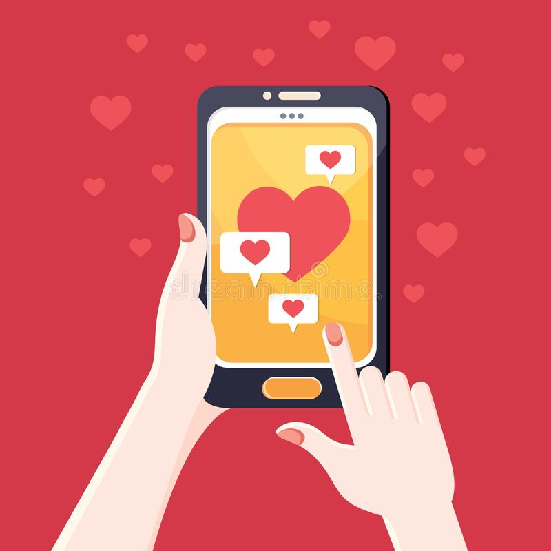 Hand holding smartphone. A person sends a love message through a mobile phone. Love SMS. Colorful vector illustration in. Cartoon style. Black smartphone with a royalty free illustration