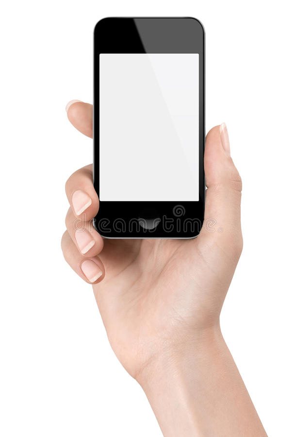 Hand holding a Smartphone for a photo stock photography