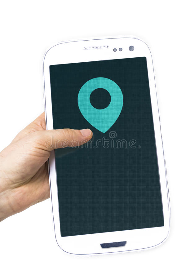 Hand holding smartphone pin sign map screen stock image
