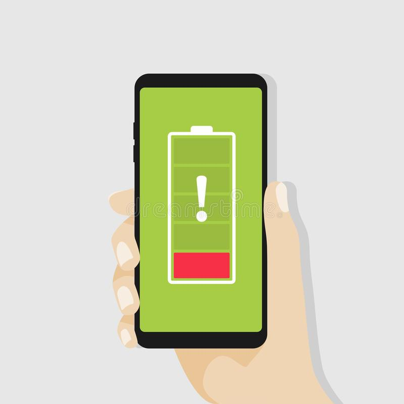 Hand holding smartphone with red low battery. vector illustration
