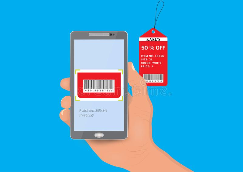 Hand holding smartphone scanning barcode on price tag, technology merchandise concept stock illustration