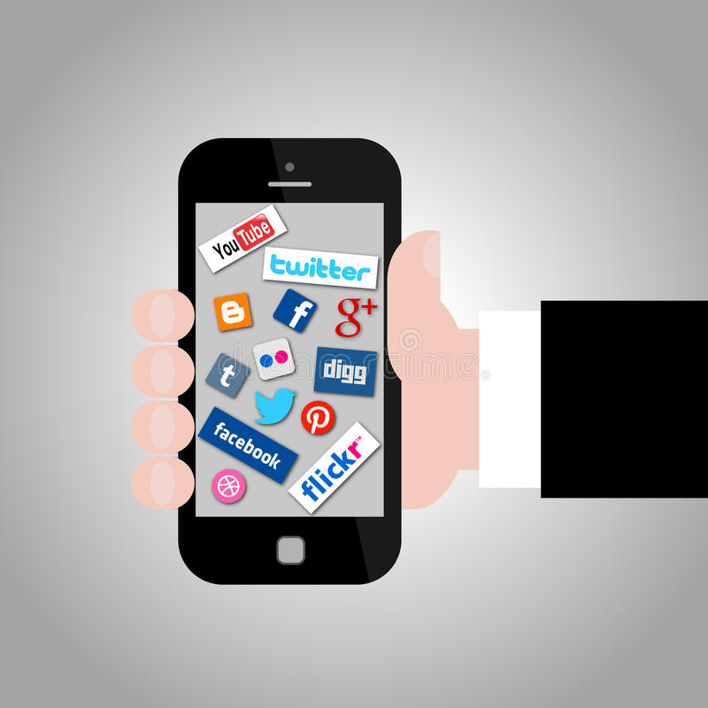 Hand Holding Smartphone with Social Media Icons. Illustration Collection of most popular social media and network buttons icons with hand holding smartphone royalty free illustration