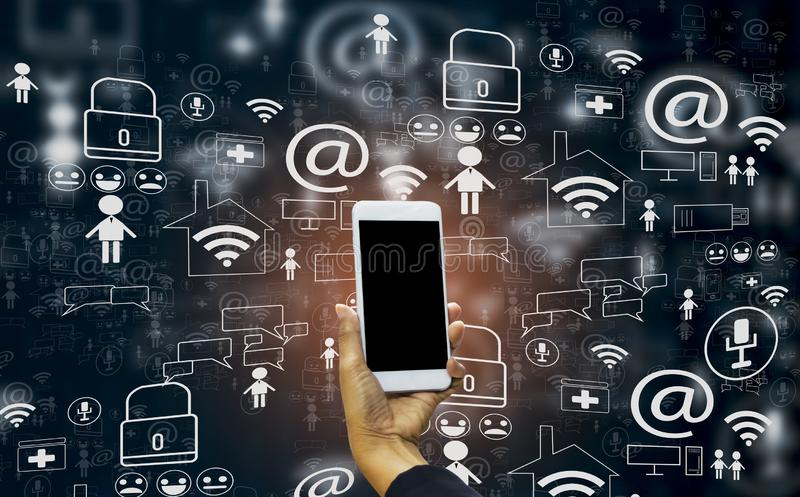 Hand holding smartphone into social media world,with concept internet of things, fast 5g technology, cloud storage, and data royalty free illustration
