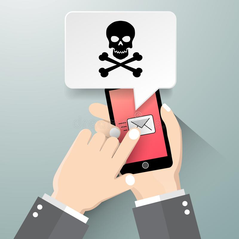 Hand holding smartphone with speech bubble on screen. Threats, mobile malware, spam messages, fraud, sms spam concepts. Modern flat design vector illustration royalty free illustration