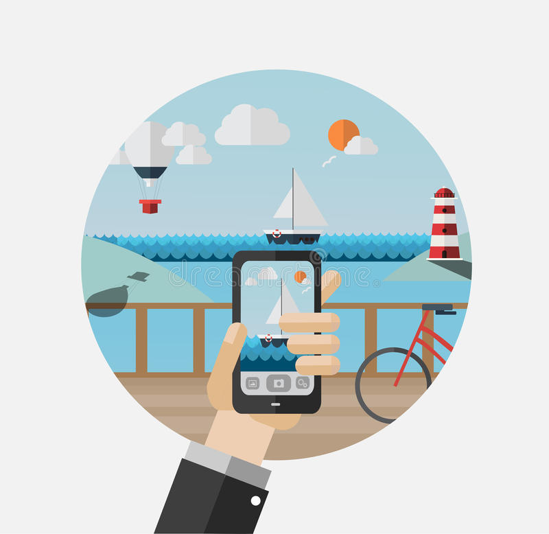 Hand holding smartphone taking photo of pier vector illustration