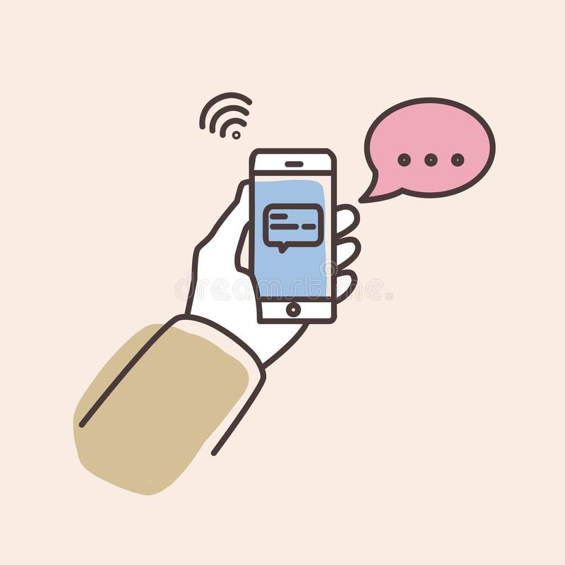 Hand holding smartphone with text message on screen and speech bubble. Phone with chat or messenger notification stock illustration