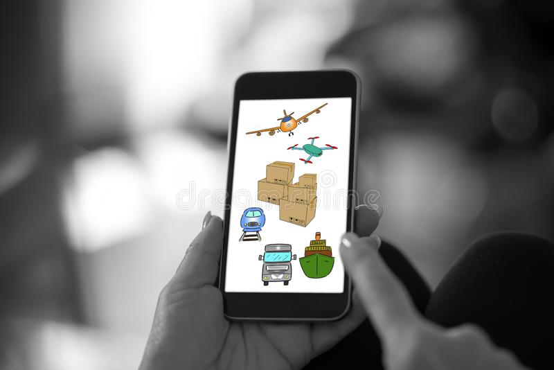 Transportation concept on a smartphone royalty free stock images