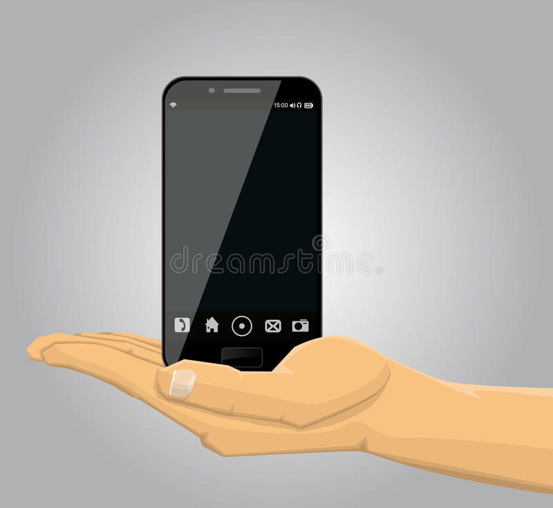 Hand holding a smartphone vector illustration