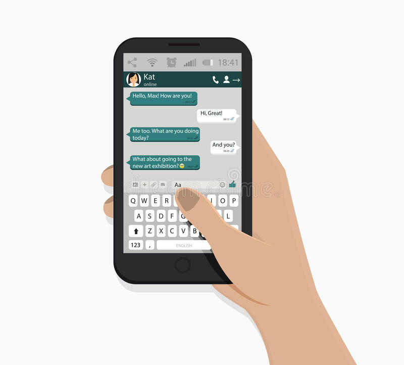 Hand holding smartphone. Vector illustration. White background. Green speech bubbles. Messaging concept. royalty free illustration