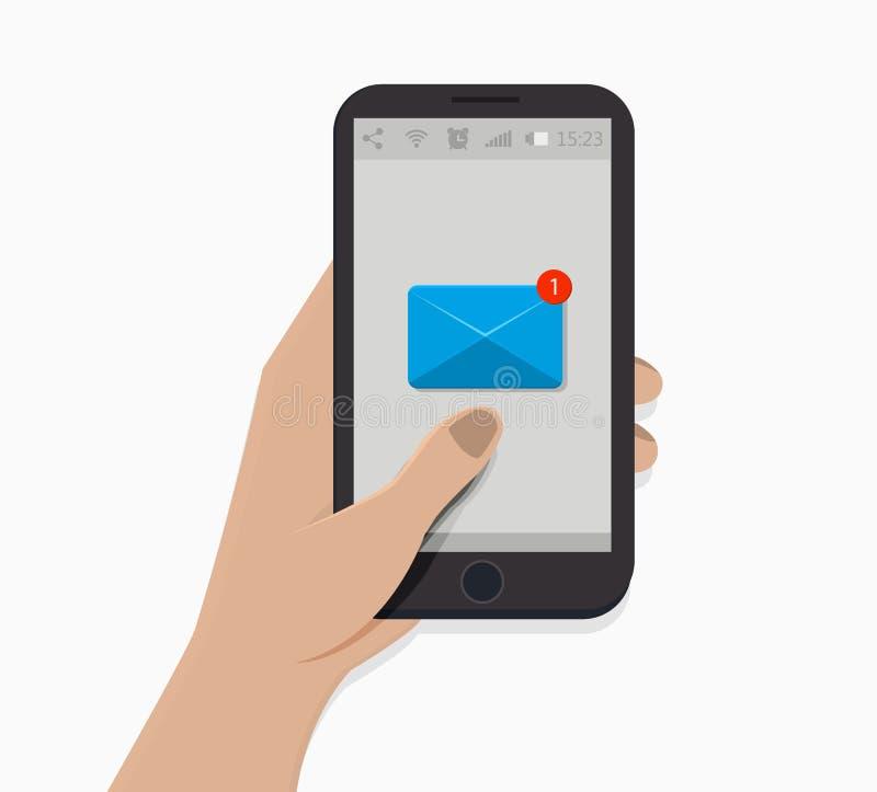 Hand holding smartphone. Vector illustration. White background. Newsletter icon. Notification symbol. Flat style. New message. stock illustration