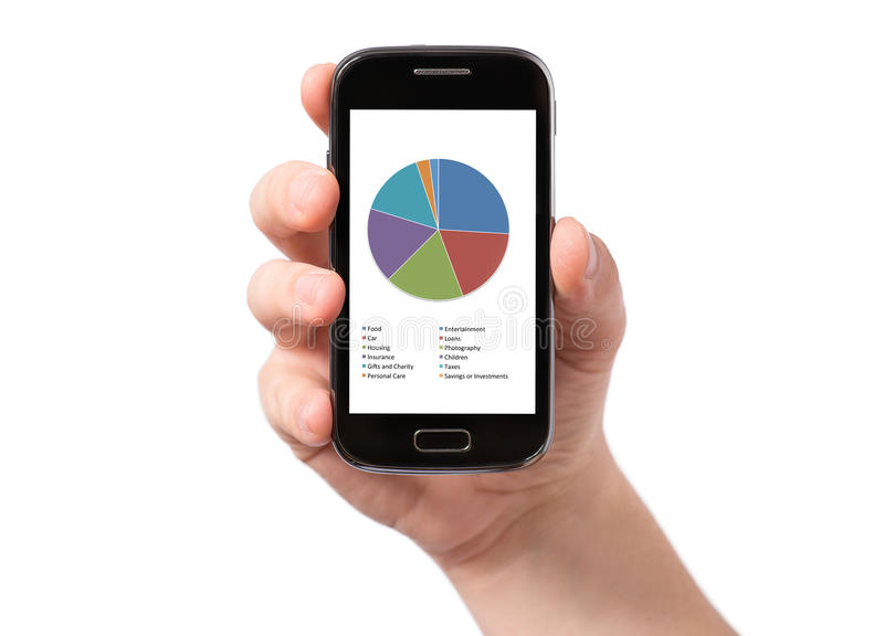 Hand holding smartphone with white screen stock photos