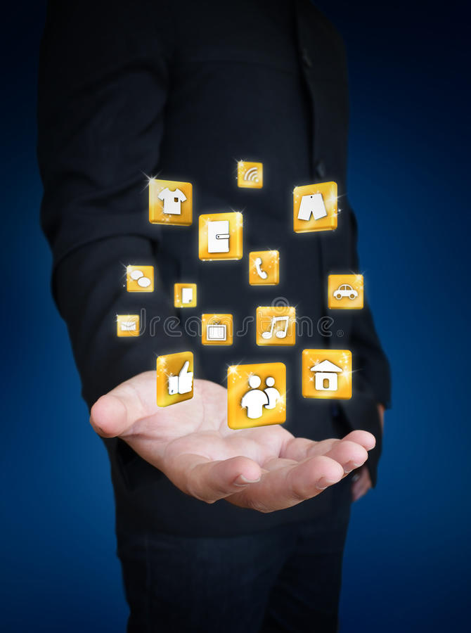 Download Hand Holding Social Media Icon Stock Illustration - Image: 34313606