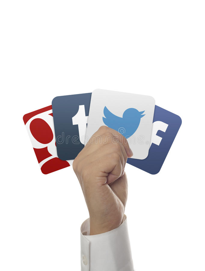 Hand holding social media icons stock images