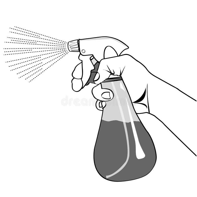 Hand holding Spray bottle outline vector vector illustration