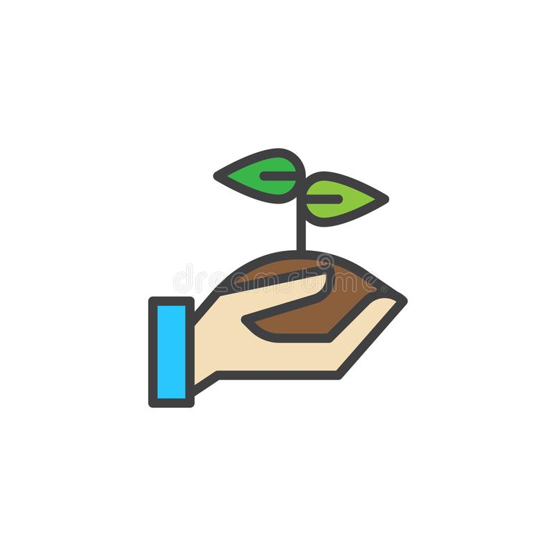 Hand holding sprout filled outline icon vector illustration