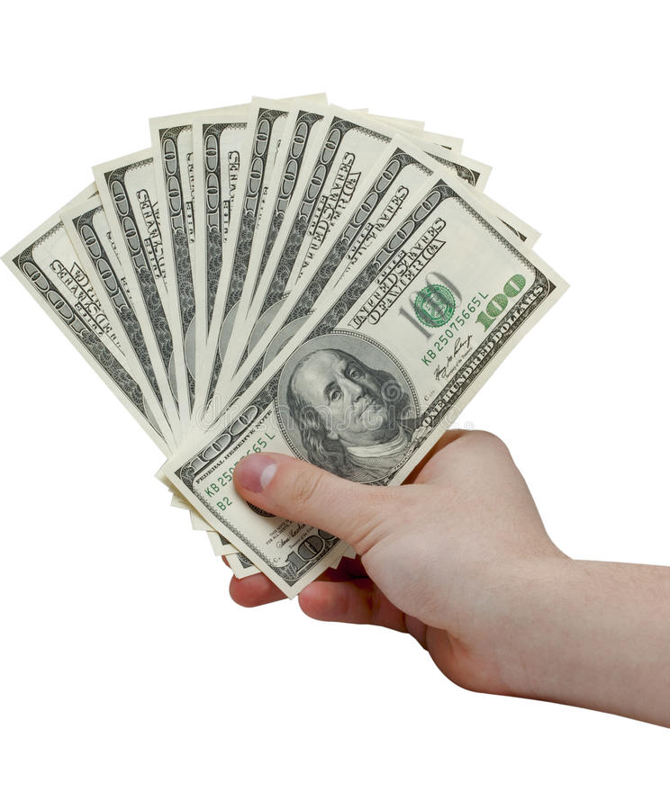 Hand holding a stack of cash royalty free stock photos