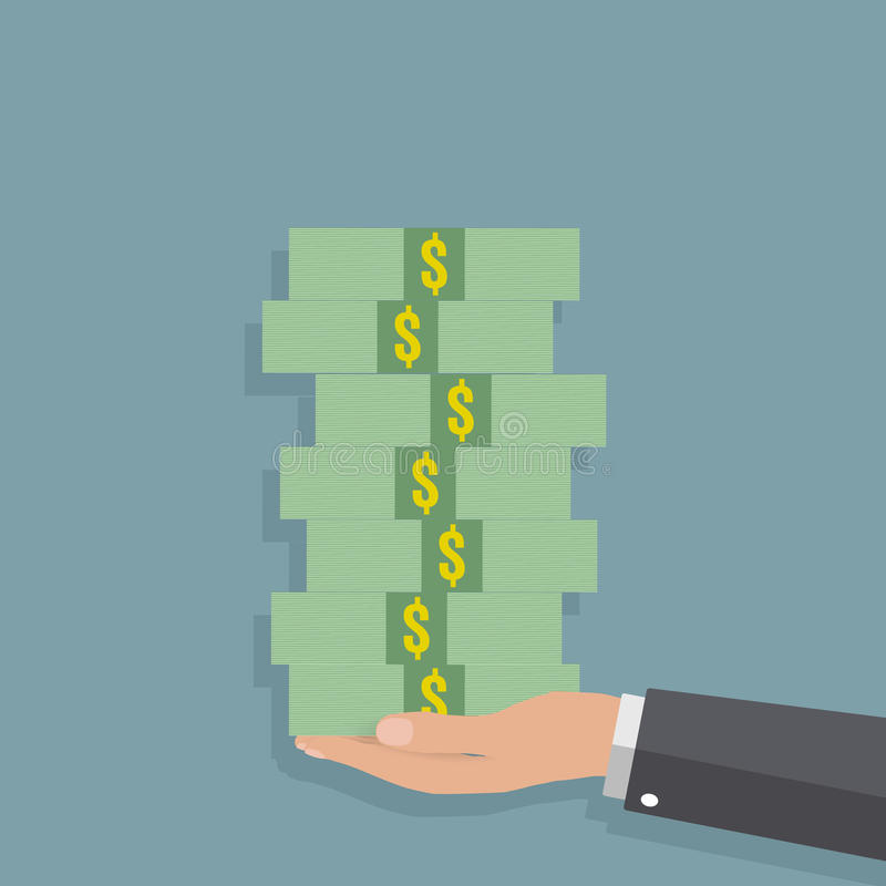 Hand holding stack of cash royalty free illustration
