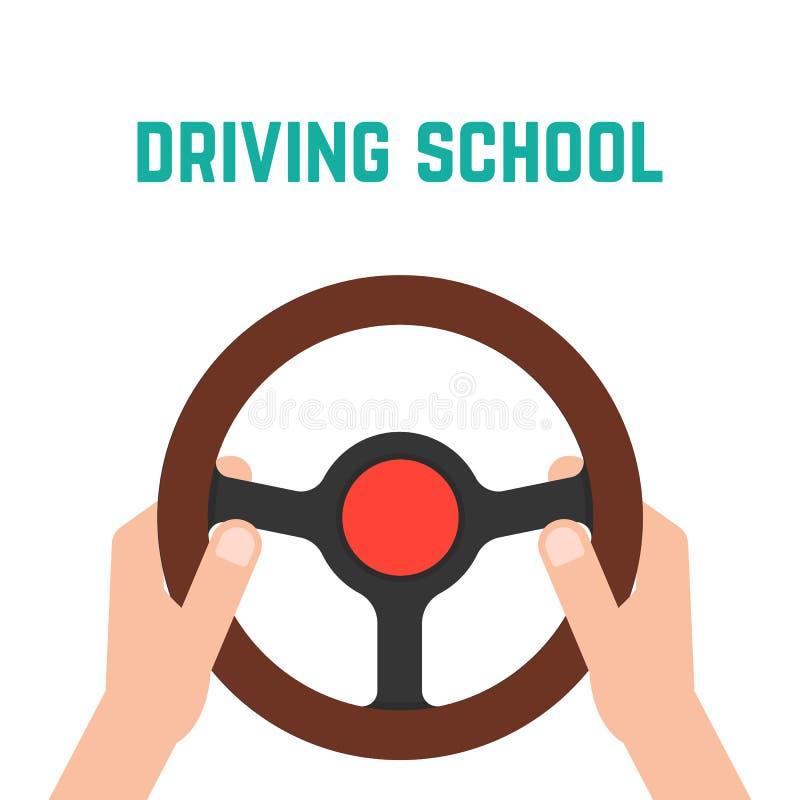 Hand holding steering wheel vector illustration