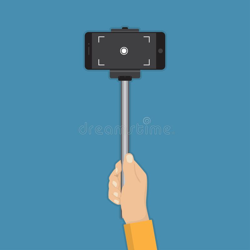 Hand holding stick selfie with smartphone in a flat design.  stock illustration
