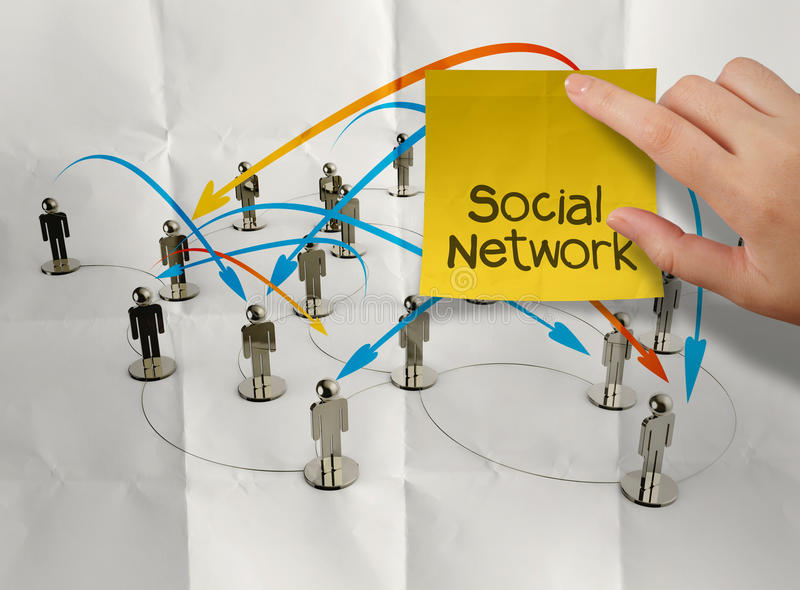 Hand holding sticky note social network 3d stainless human. Social network on crumpled paper as concept royalty free illustration