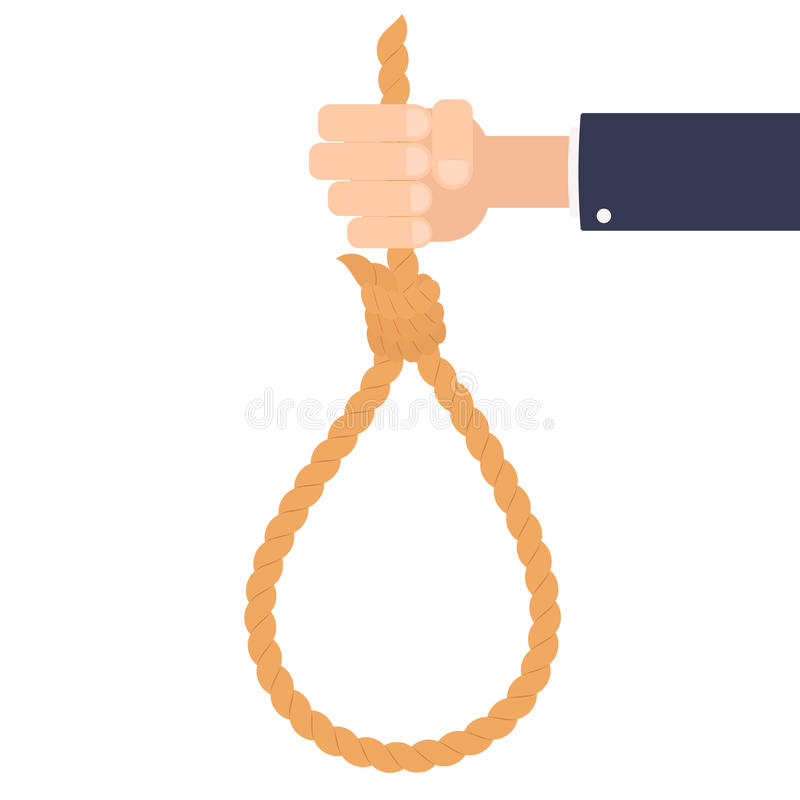 Hand holding suicide rope. Vector illustration isolated on white background vector illustration