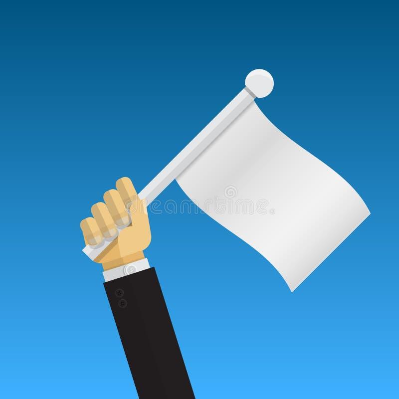 Hand holding surrender flag. Blank flag stock illustration