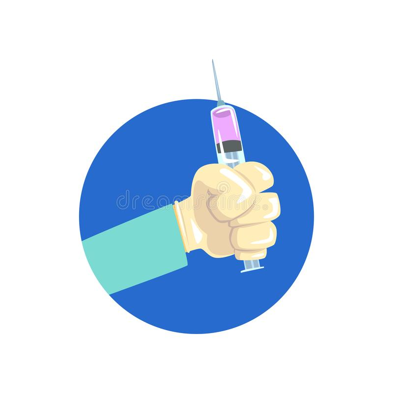 Hand holding syringe, symbol of the profession of a doctor cartoon vector Illustration stock illustration