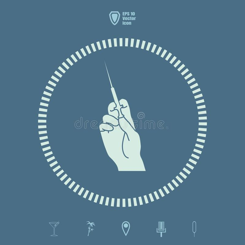 Hand holding a syringe vector icon royalty free illustration