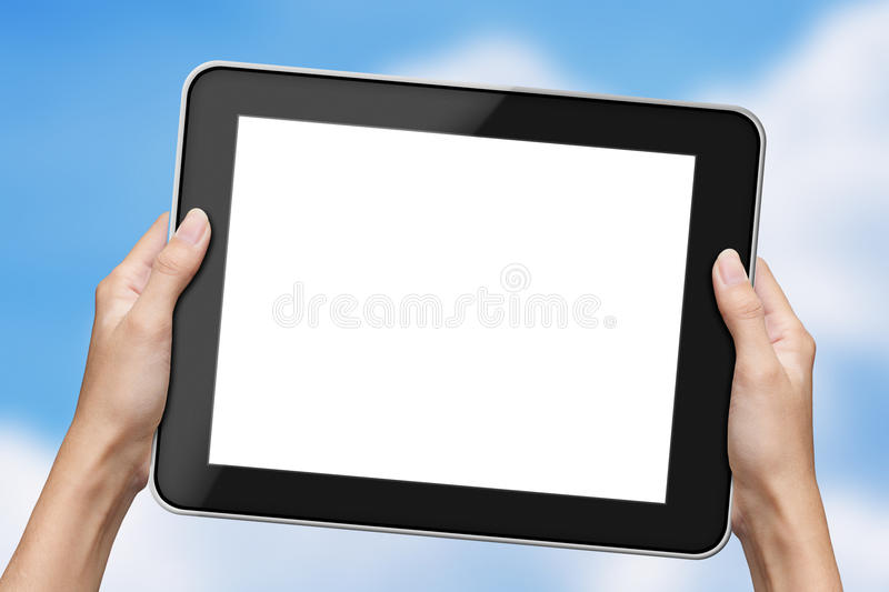 Hand holding tablet stock photography