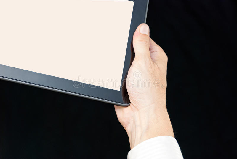 Hand Holding Tablet, Close