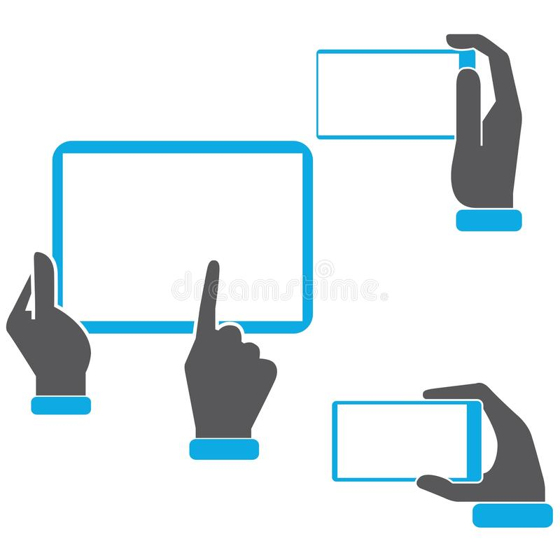 Hand holding tablet icons. Set of 3 hand holding tablet icons vector illustration