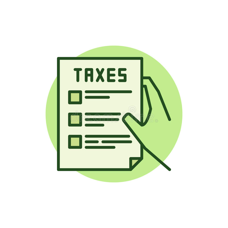 Hand Holding Tax Form Green Icon Stock Vector