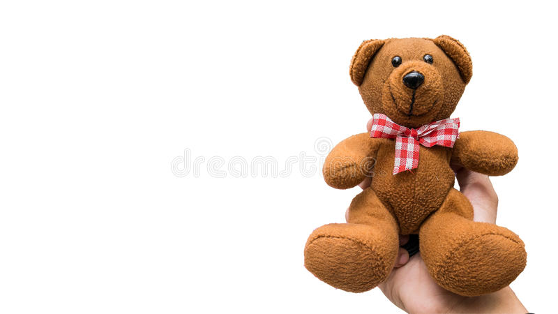 Hand holding teddy bear on white background, Clipping-path.  royalty free stock photos