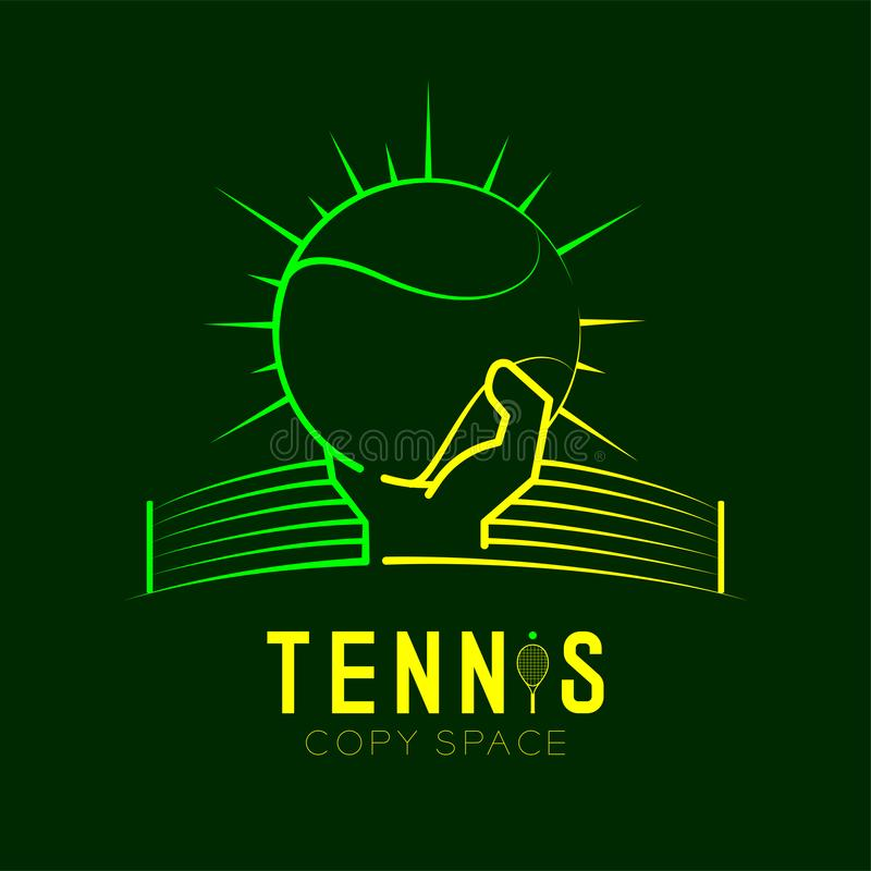 Hand holding Tennis ball with radius and net logo icon outline stroke set dash line design illustration. Isolated on dark green background with Tennis text and royalty free illustration