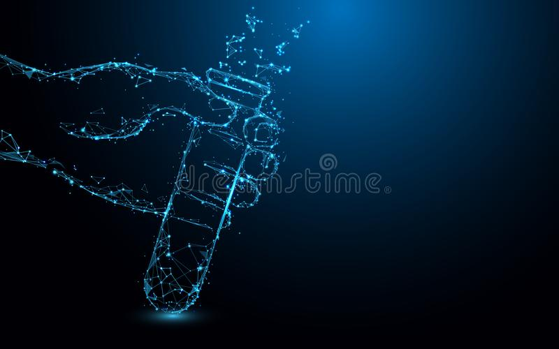 Hand Holding Test tubes form lines, triangles and particle style design. royalty free illustration