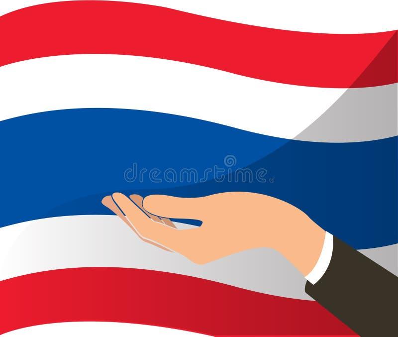 Hand holding Thailand flag and background. EPS10 stock illustration