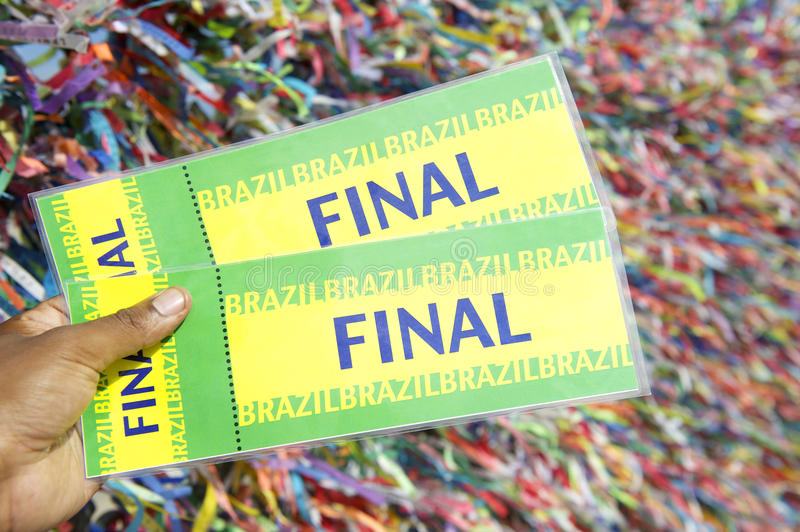 Hand Holding Tickets Colorful Brazilian Background royalty free stock image