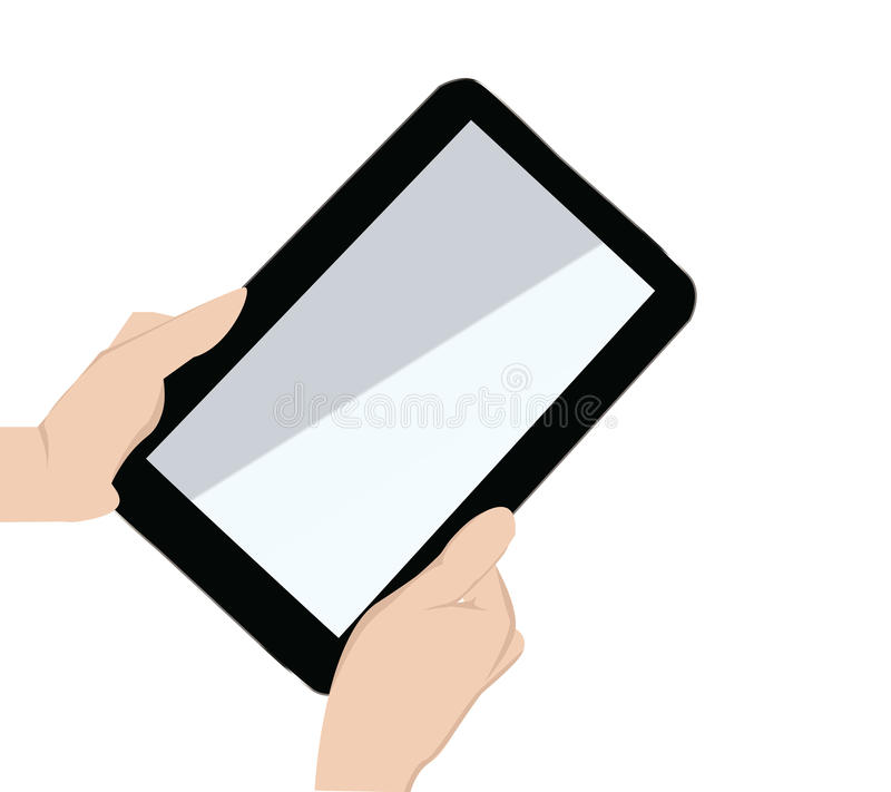Hand holding a touchpad pc stock illustration