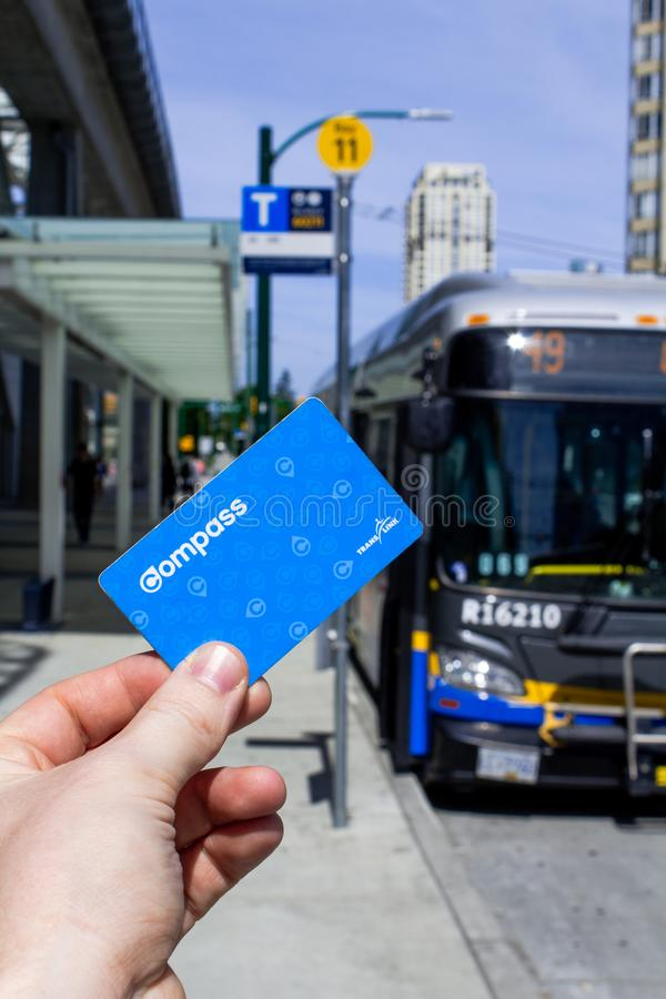 Hand holding a Translink Compass Card stock image