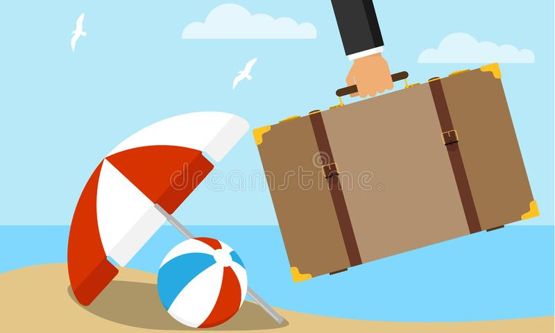 Hand holding travel suitcase. A tourist`s hand holds a suitcase with things on the background of a sea landscape. Vector stock illustration