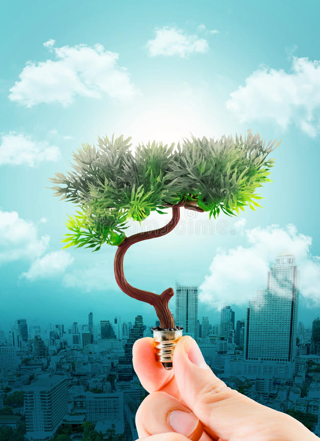 Hand holding tree refreshing on light bulb on sky with cloud and royalty free illustration