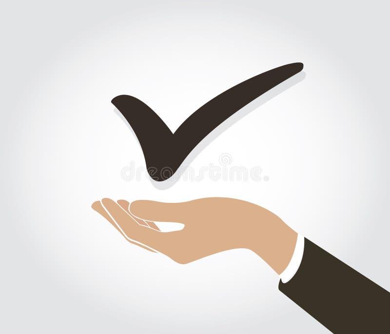 Hand holding True check icon symbol. EPS10 stock illustration
