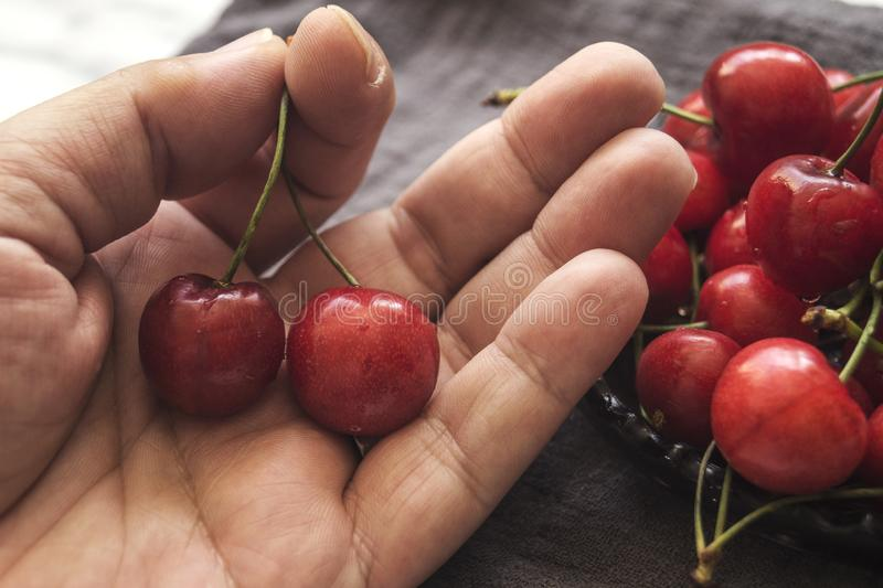 Hand holding the two fresh cherries. Close up royalty free stock photos