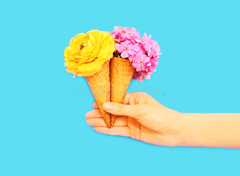 Download Hand Holding Two Ice Cream Cone With Flowers Over Blue Stock Image - Image of concept, color: 87807943