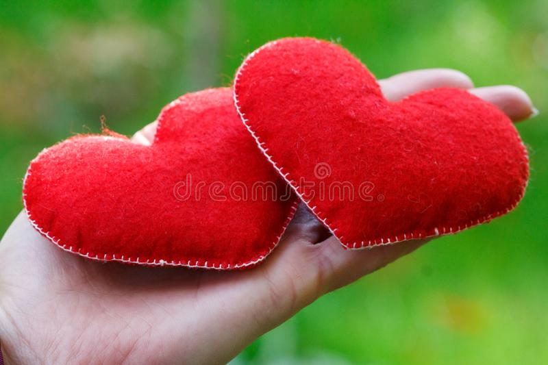Hand holding two red hearts on grass in park. Happy, Love, Valentines day idea, symbol, concept. stock image