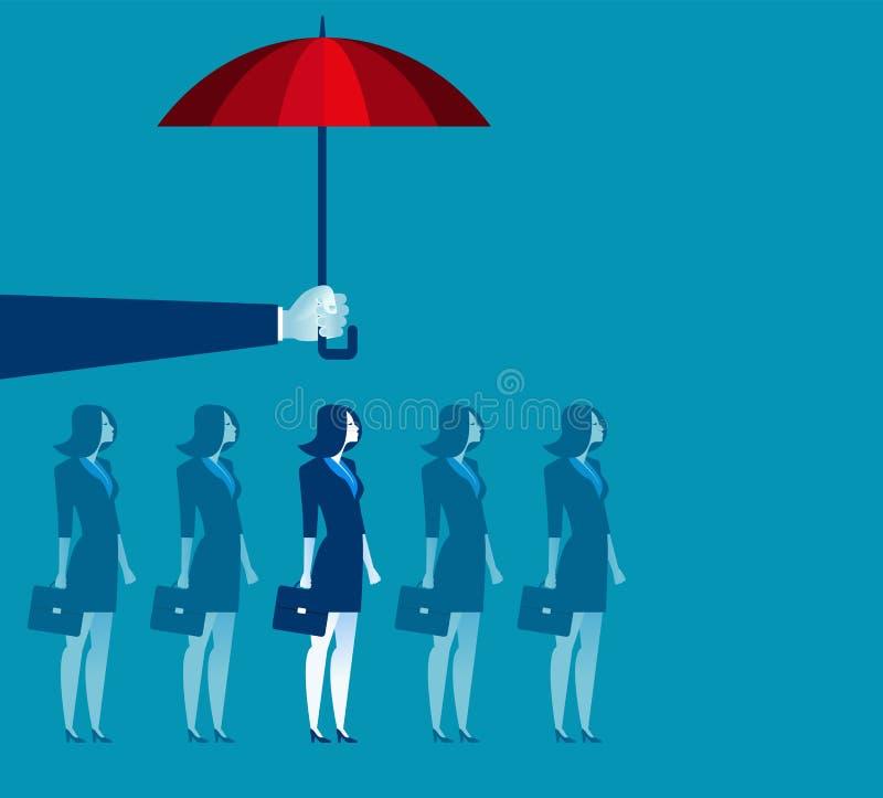 Hand holding umbrella above businesswoman vector illustration