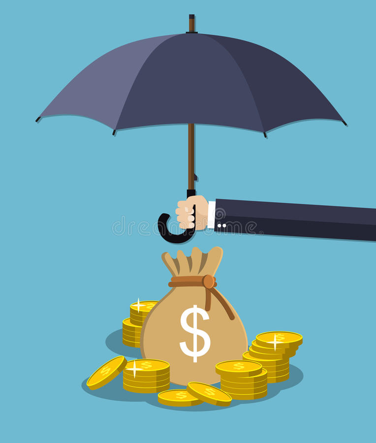 Hand holding umbrella under rain to protect money. Money protection, financial savings concpet. vector illustration in flat style stock illustration