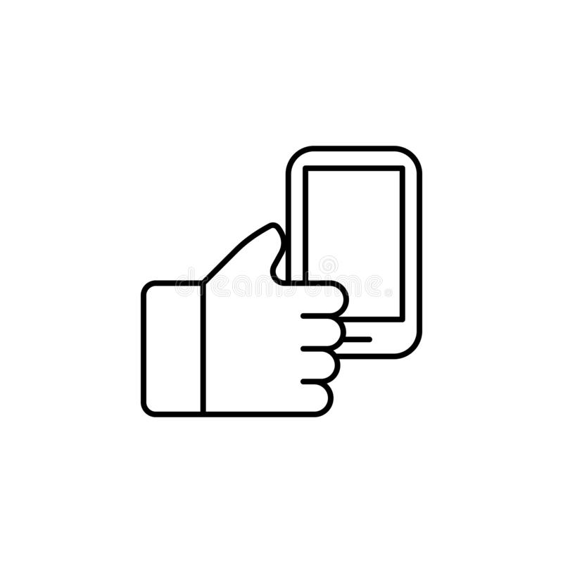Hand holding up phone outline icon. Element of simple icon for websites, web design, mobile app, info graphics. Signs and symbols vector illustration