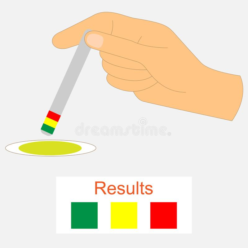 Hand holding a urine ph test strip stock illustration