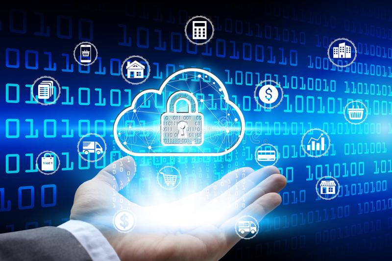 Hand holding with virtual padlock icon over the Network connection, Cyber Security Data Protection Business Technology Privacy stock photos